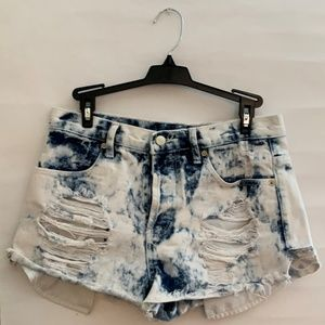 Forever 21 Denim Faded Distressed Shorts